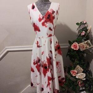 EUC Ashro Cream Red & Mauve Abstract Floral Dress